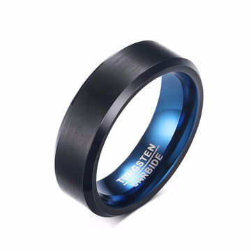 Murah mens biru tungsten carbide pernikahan band hitam