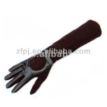Black Brown Color Elbow Length Suede Long Gloves