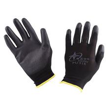 Luvas feitas malha sem emenda de nylon da mão do revestimento preto da palma do poliuretano do CE
