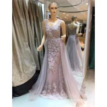 2017 de alta calidad sin mangas exquisito para las mujeres gordas rebordeado flor Appliqued A-line vestidos de noche