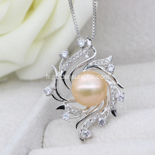Fashion Designs Plating Silver Pearl Cage Pendentif Collier