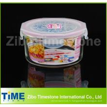Récipient de stockage de nourriture en verre de forme ronde de micro-onde
