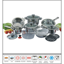 18PCS Wide Edge Stainless Steel Cookware Set