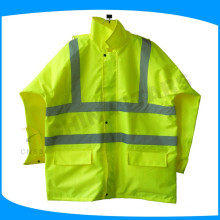 100% polyester 300D Oxford PU coating reflective traffic raincoat