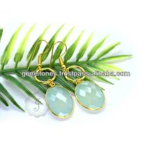 Vermeil Aqua Chalcedony Earring Wholesale Vermeil Bezel Earring