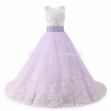 2017 vestidos de niña de las flores con el arco de cuentas de cristal con cordones apliques vestido de bola del vestido de fiesta del bebé para las muchachas