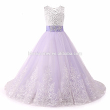 2017 цветок девочки платья с бантом из бисера Кристалл кружева аппликация бальное платье девочка платье для девочек