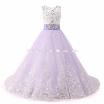 2017 Flower Girl Dresses With Bow Beaded Crystal Lace Up Applique Ball Gown baby girl party dress for Girls