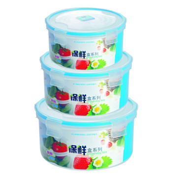 3 PC Plastic Food Container Set Round Shape