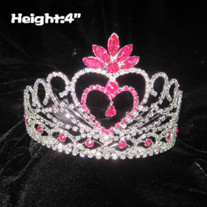 4in Height Heart Shaped Princess Crowns With Pink Diamonds