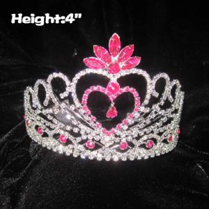 Coronas de princesa en forma de corazón de 4 pulgadas de altura con diamantes rosados