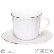 Blanco con Brown Brush Ceramic Tea Cup y Platillo