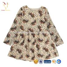 Vente en gros dernière conception imprimée en laine de cachemire enfants bébé fille robe de mode