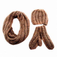 Acrylic roving yarn cable knitted 3-piece infinity scarf set, suitable for ladies