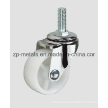 Light-Duty White PP Screw Without Brake Caster Wheel