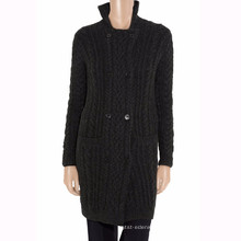15PKCAS35 Frauen Winter warme Kabel Mode Wolle Kaschmirmantel