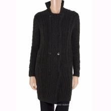 15PKCAS35 mulheres inverno quente cabo moda lã cashmere casaco