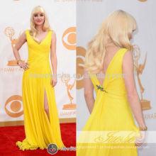 Anna Faris Emmy 2013 Bright Yellow V-Neck Full-Length Criss Cross Pleats Slit Chiffon Sheath Evening Celebrity Dress Vestido NB0797