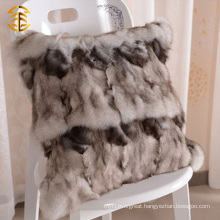 Home Decorative Black Fox Fur Pillow Covers Real Fur Pillow Case Pillow Cushion