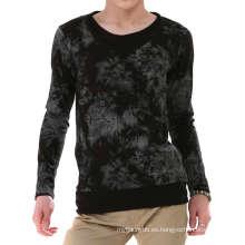Camiseta manga larga al por mayor de la moda de la manga de los hombres del algodón de la teñida