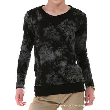 Dye Tissu Coton Hommes À Manches Longues En Gros De Mode T-shirt