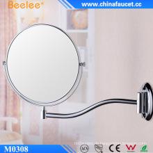 Runder ausziehbarer doppelseitiger Badezimmerspiegel aus Chrom