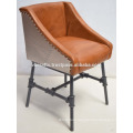 Industrial Exclusive Leather Chair Cast Iron Pipe Base Metal Coated