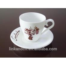 Haonai 200 ml Factory ceramic coffee set, ceramic mug with saucer
