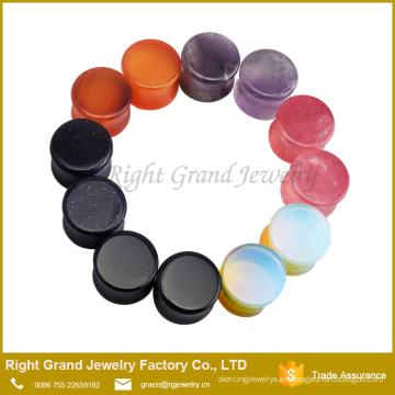 Piedras naturales para la fabricación de joyería joyería del cuerpo tapones túneles enchufe de oreja