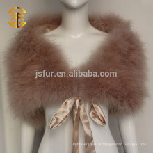 Atacado Mulher Real Turkey Feather Cape for Evening Dress