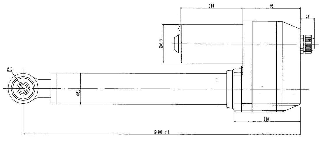 ZGZQ03 dc linear actuator / dimension