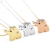 Menina jóias bonito aço inoxidável rosa de ouro animal charme elefante colar