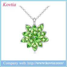 2015 fashion jewelry fine china emerald stone pendant necklace Austrian crystal necklace