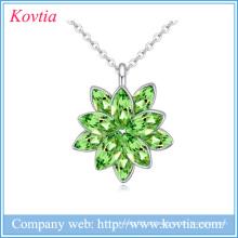 2015 moda jóias finas china esmeralda pingente de pedra colar de cristal austríaco colar