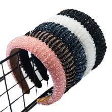 Baroque Crystal Beads Sponge Wide Headband Luxury Hair Accessories Vingtage Retro Korean Fashion Velvet Hairband Dropshipping