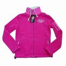 Ladies fleece jacket with fake fur inner collar