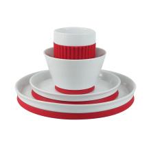 Cena de porcelana con silicona, juego de 4