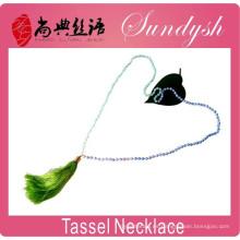 collar de borla con cuentas de moda hecho a mano anudado collar de borla de piedras preciosas de estilo bohemio
