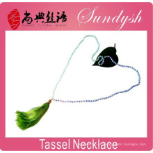 colar de borla frisada moda handmade atado estilo boêmio colar de borla de pedras preciosas