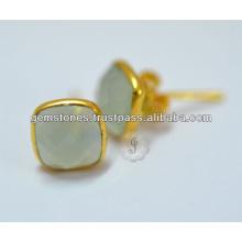 Natural Aqua Calcedonia Bezel Brinco, Atacado Vermeil Gold Gemstone Bezel Stud Earrings Jóias Fabricante