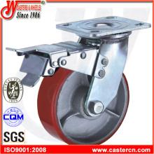 Roda de PU giratória de serviço pesado com freio total