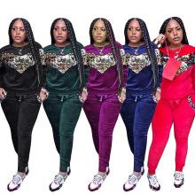 14-C0482 women velour clothes 2020 women two piece set lady patchwork boutique clothing