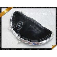 Schwarze Onyx-hängende Schmucksachen, silberner Überzug-Halsketten-Anhänger, heiße Verkaufs-hängende Halskette (YAD005)