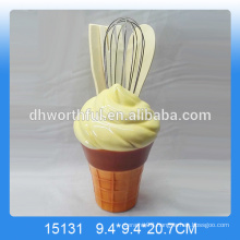 Decorative ceramic utensil holder with ice cream shape for wholesale