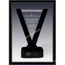 Plaques de récompense de victoire en cristal de 10,5 pouces de hauteur avec base en cristal noir (NU-CW728)