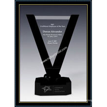 10.5 Inch Tall Crystal Victory Award Plaques with Black Crystal Base (NU-CW728)