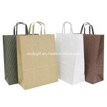 Eco-Friendly Natural Brown Kraft Paper Gift Packing Bags Flat Handles