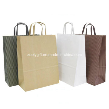 Eco-Friendly Natural Brown Papel Kraft Gift Packing sacos plana alças