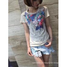 2017 verano precioso colorido lentejuelas algodón flor camiseta ropa