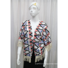 Lady Fashion Printed Polyester Knitted Fringed Silk Shirt (YKY2213)